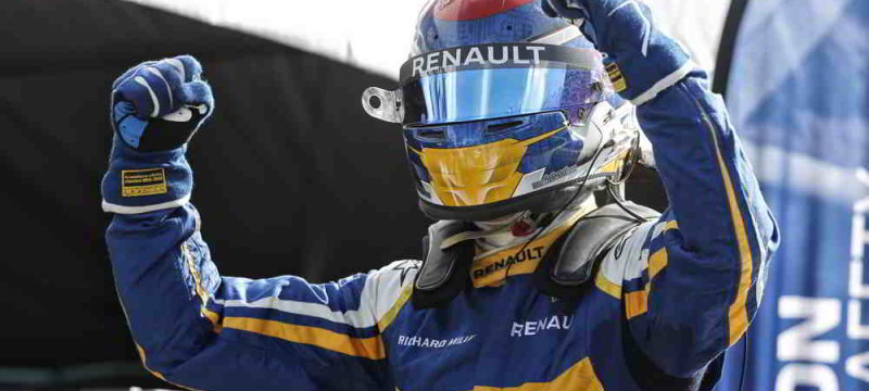 Sebastien Buemi savoring hs second win of the season putting him at the top