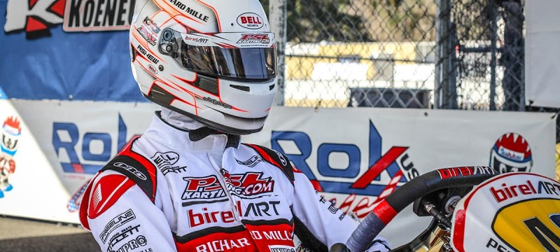 Psl karting driver Oliver Askew in his shifter birel art
