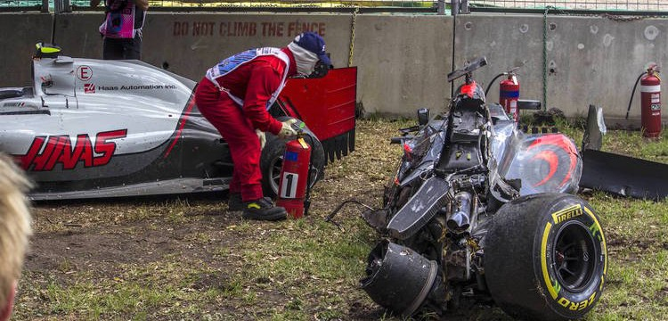 Alonso's car straight after the crash