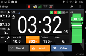 Harry's laptimer timer view showing laptime , gap, best lap , sectors and sensor data