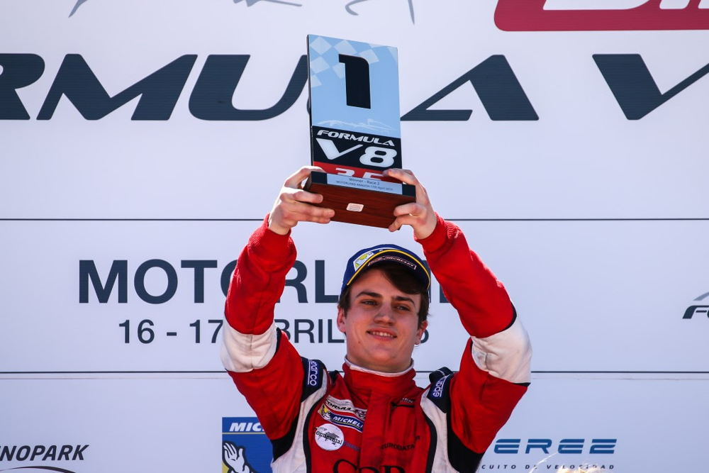 Aurelien Panis takes maiden win in Formula V8 3.5 Series at the opening round in Motorland, Spain.