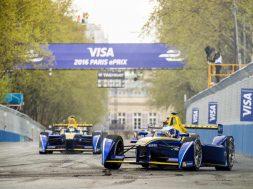 Prost in front of Buemi at the Paris E-Prix