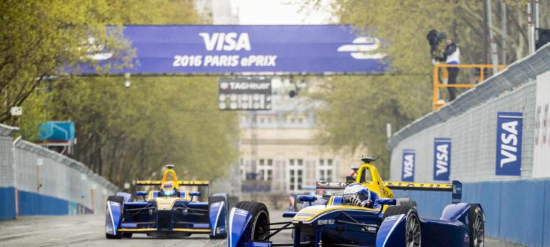 Prost in front of Buemi at the Paris E-Prix