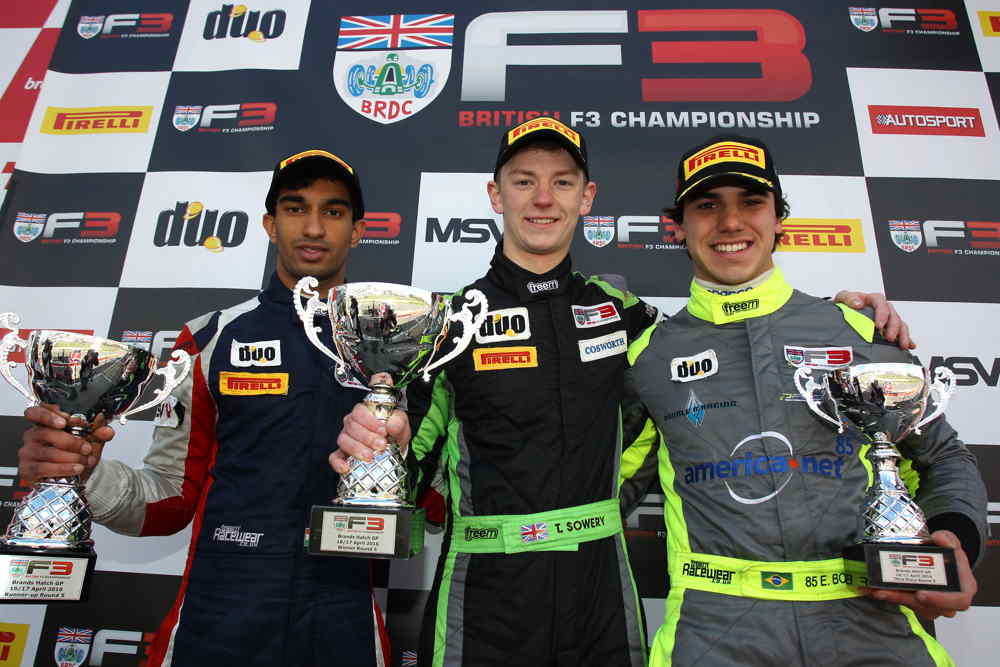 Sowery, Tarun Reddy and Enzo Bortoleto made up the race two podium