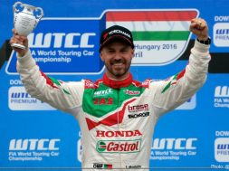 Tiago Monteiro on the podium after two spectacular races in Hungary