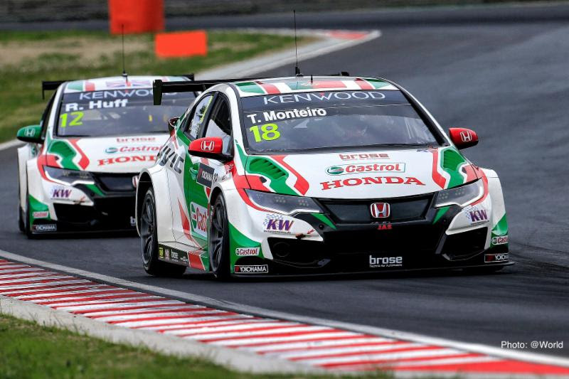 Tiago Monteiro on the podium after two spectacular races in Hungary on track with team mate
