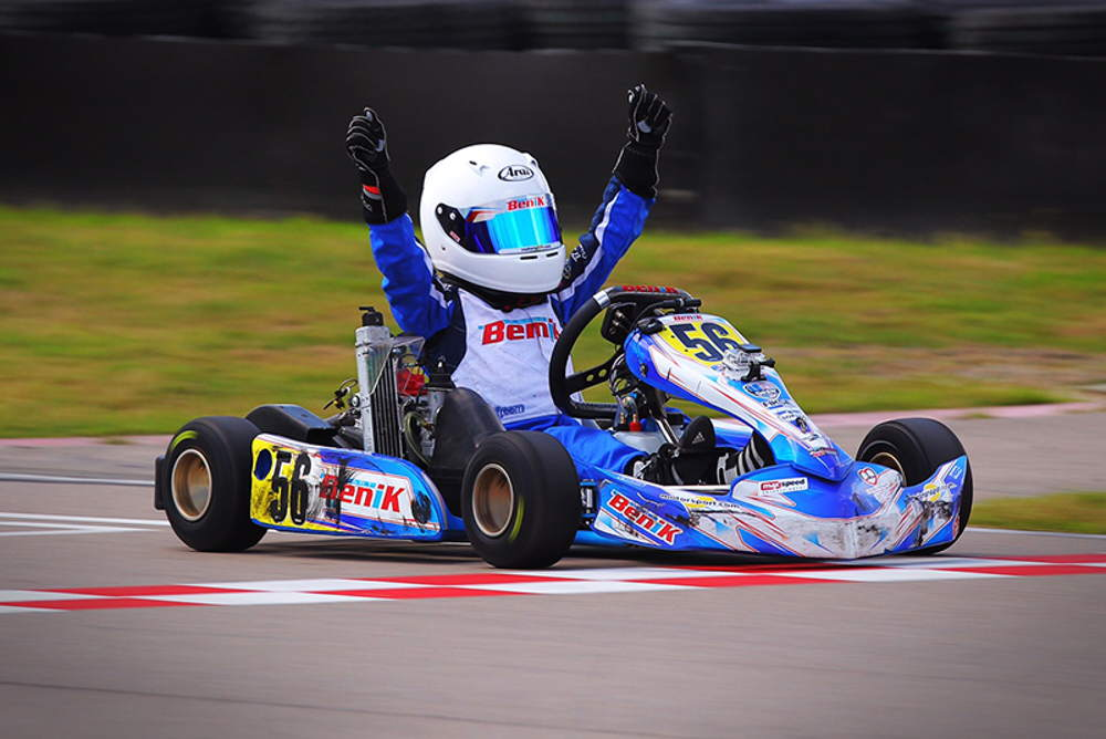 BENIK Kart lead every official on track session all week long winning