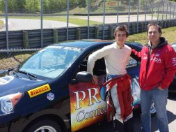 Oliver Bedard and his dad Rbert Bedard in front of his 2015 winning Micra cup Car