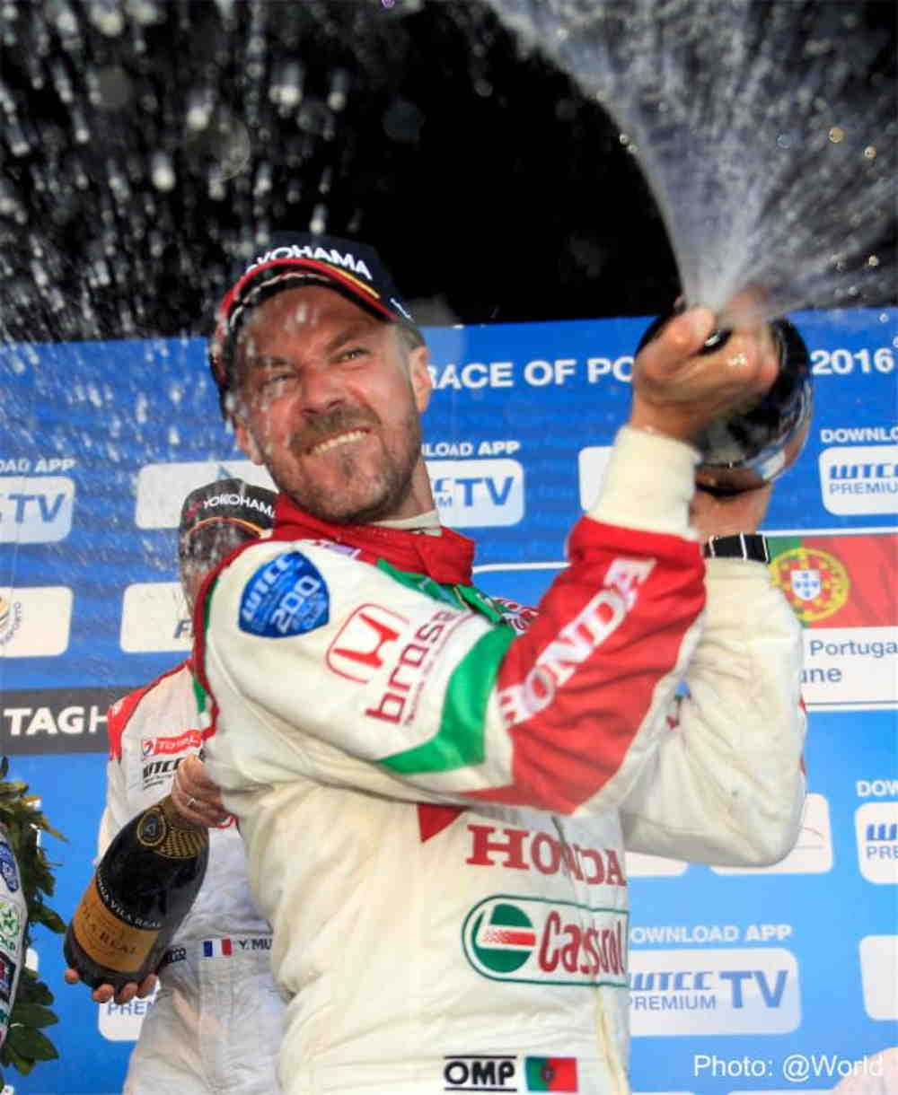 Tiago Monteiro in Vila Real spraying the champain