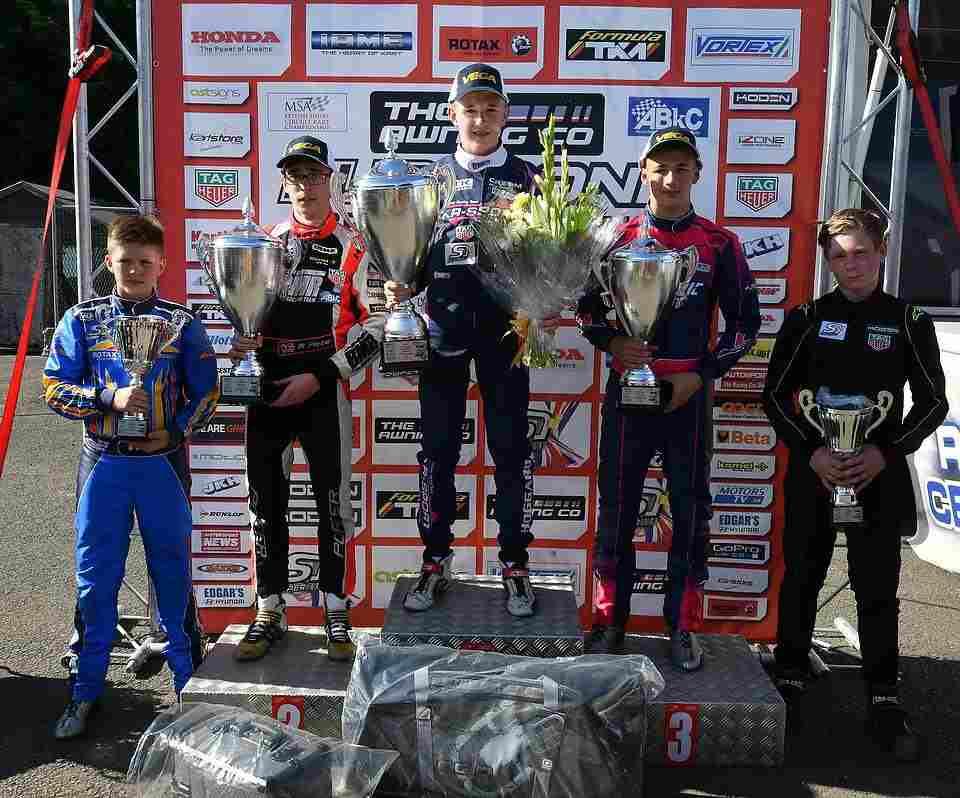 KR Sport's Jonathan Hoggard topped the OK Junior podium at the Shenington SuperPrix