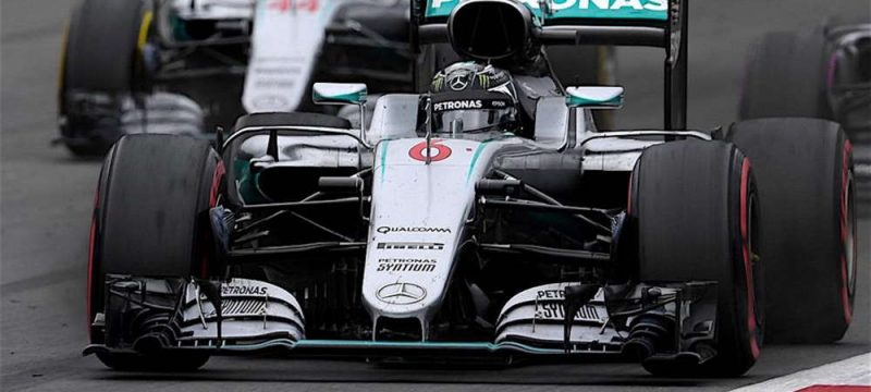 Nico Rosberg just before crashing in to Lewis Hamilton