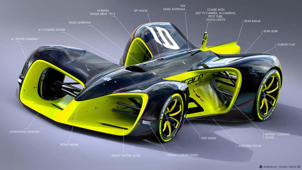 Roborace car diagram