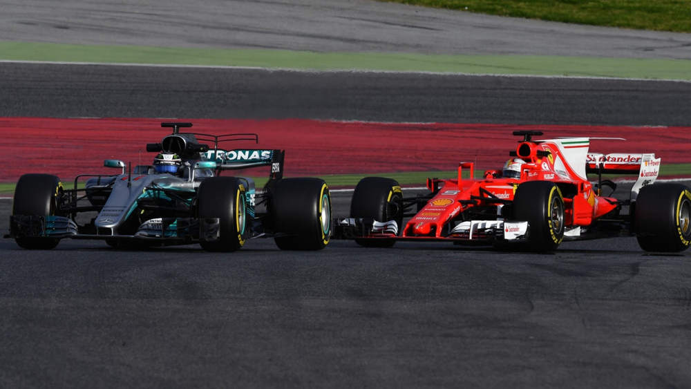 www.sutton-images.com Valtteri Bottas (FIN) Mercedes-Benz F1 W08 Hybrid and Sebastian Vettel (GER) Ferrari SF70-H at Formula One Testing, Day One, Barcelona, Spain, 7 March 2017. © Sutton Images + 44 1327 352188,Sutton Images + 44 1327 352188