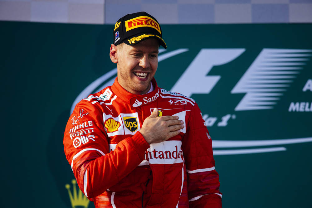 Sebastian Vettel crossed the finish line in first place after 57 laps