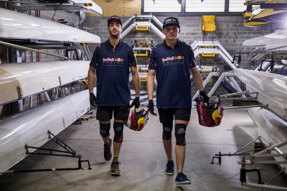redbull drivers go boat racing