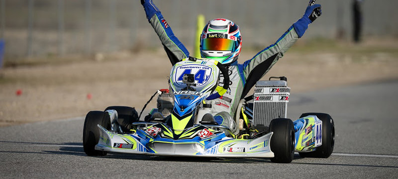 Dante Yu scored one of several victories for P1 Engines at the opening round of the SKUSA Pro Kart Challenge