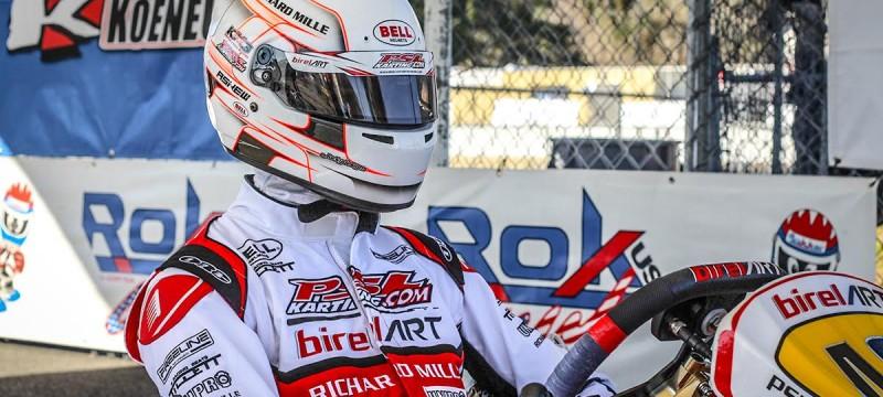 Psl karting driver Oliver Askew in his shifter birel art