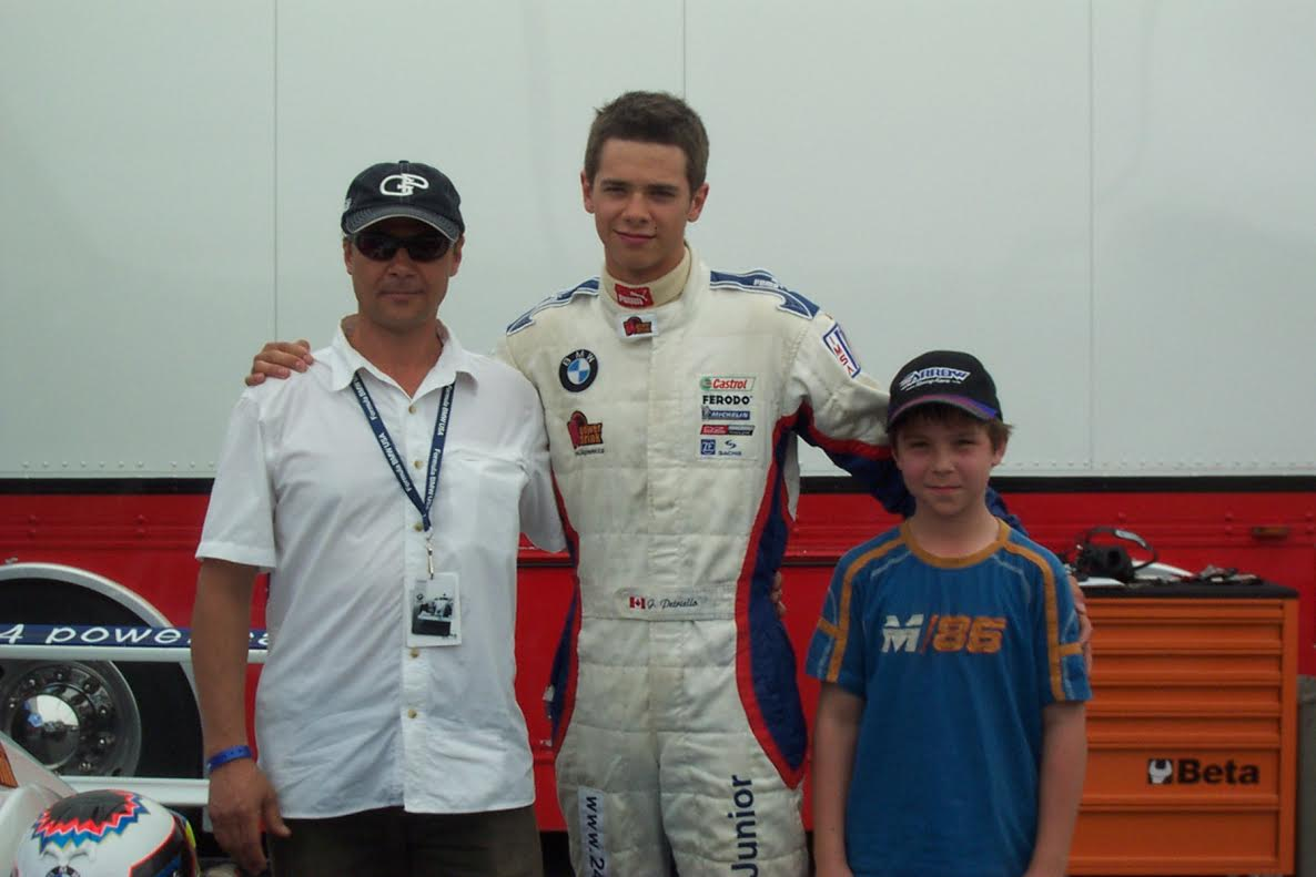 Jeffrey Petriello and his father with Olivier Bedard at the Grand Prix of Montreal