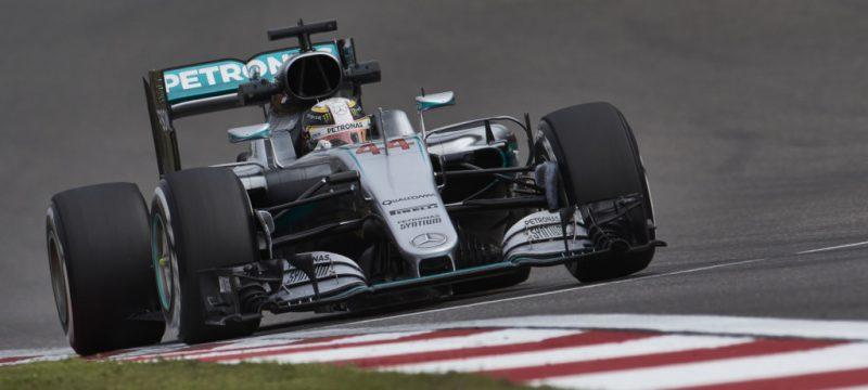 Lewis Hamilton on track at the China GP 2016