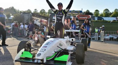 Parker Thompson getting out of his winning USF2000 car 1