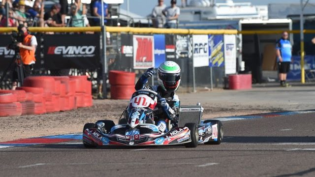 Braden Eves scores the X30 Senior victory for MDD at the SKUSA SpringNationals in Phoenix