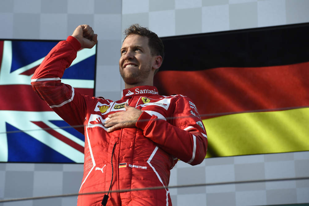 vettel on the podium