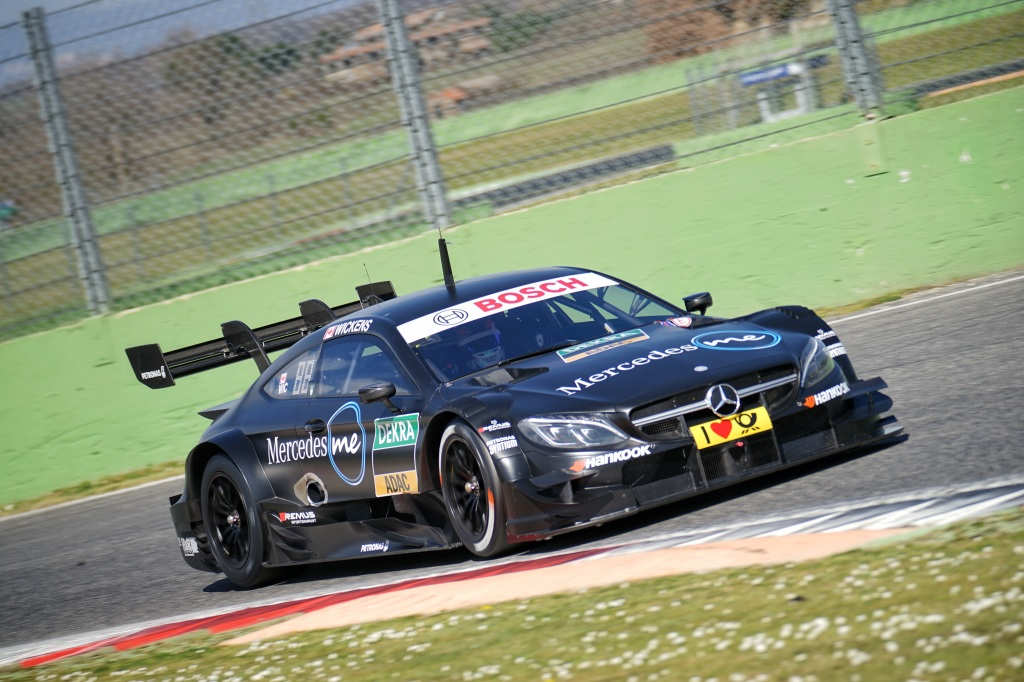 Wickens on track testing the new C63 DTM front view