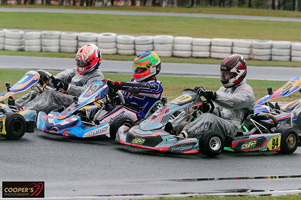Slip-n-slide in Rotax Light - Reece Cohen (94), Cody Gillis (9), Michael McCulloch (8) (pic - Coopers Photography)