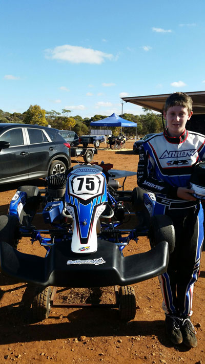 #75 KA3 Junior Brayden Stewart made the 900km round trip from Whyalla worthwhile taking the win and setting a new lap record by nearly 3 tenths - must have been that KartSportsNews sticker!