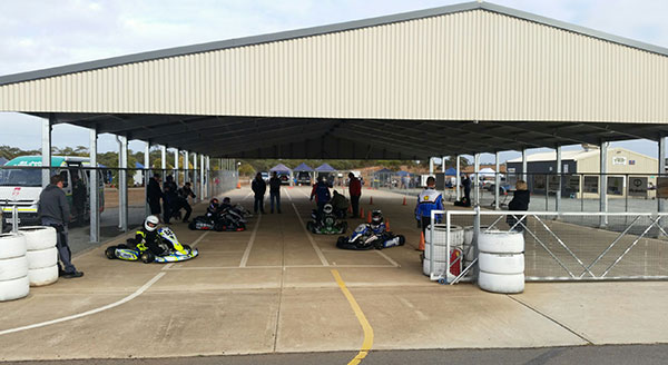 The Go Kart Club of South Australia's impressive new out-grid shelter at the Monarto karting complex