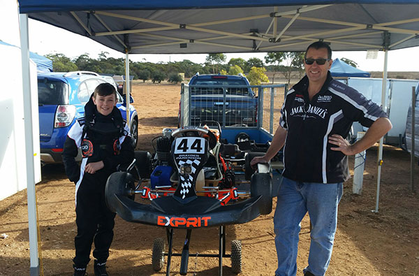 KA4 Junior Light fastest qualifier, Brayden Parkinson and his #1 pit crew, Dad!
